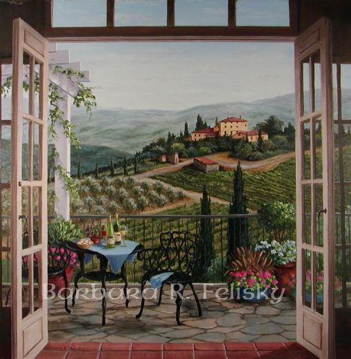 barbara felisky balcony view of the villa painting