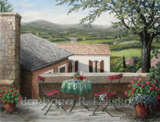 barbara felisky view from the garden at sunset paintings