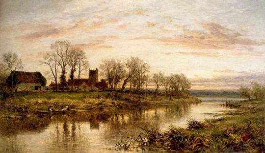 benjamin williams leader evening on the thames at wargrave paintings
