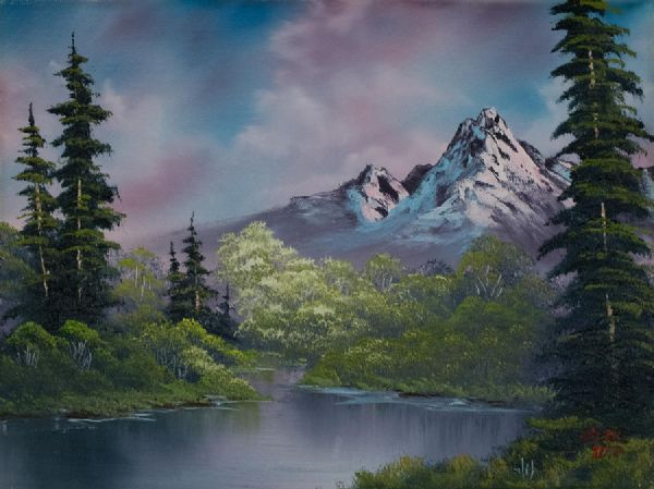 bob ross amethyst evening oil painting
