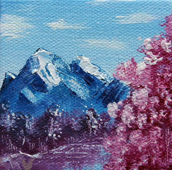bob ross bright blue mountains prints