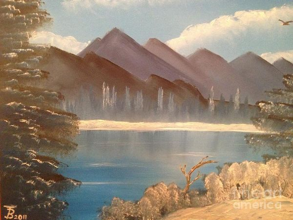 bob ross chilly mountain lake 86002 painting