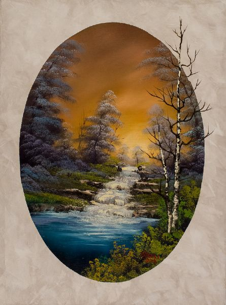 bob ross crimson oval 86006 painting