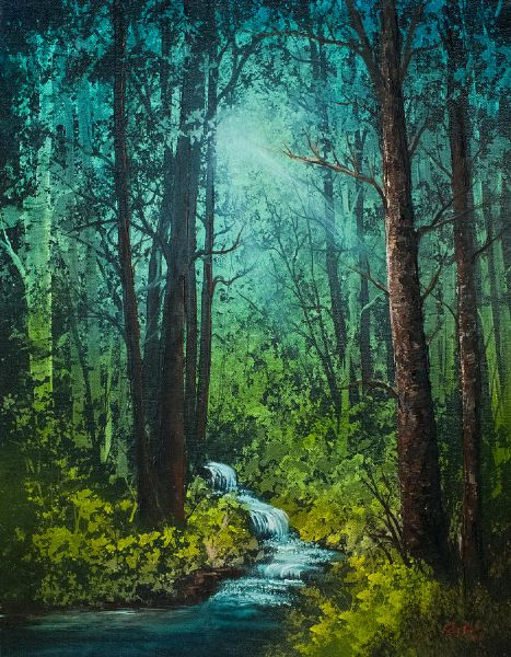 bob ross deep woods stream painting