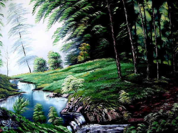 bob ross green forest 85941 painting