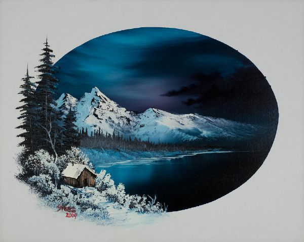 Bob Ross Hidden Winter Moon Painting Amp Bob Ross Hidden