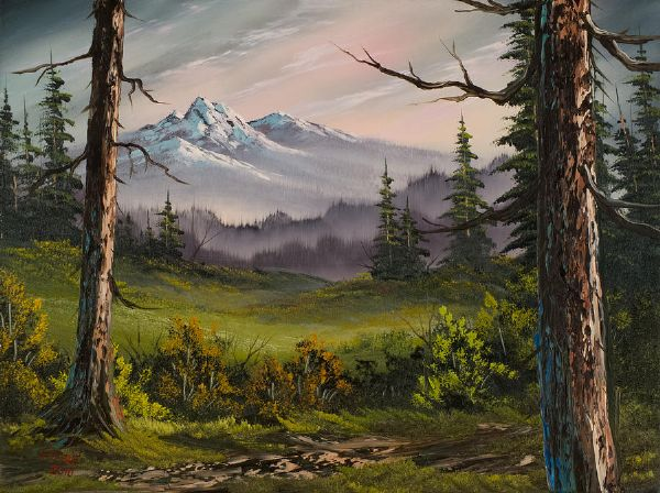 bob ross meadow view painting