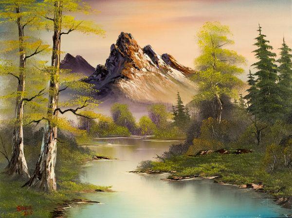 Bob ross mountain splendor painting bob ross mountain for Oil art for sale