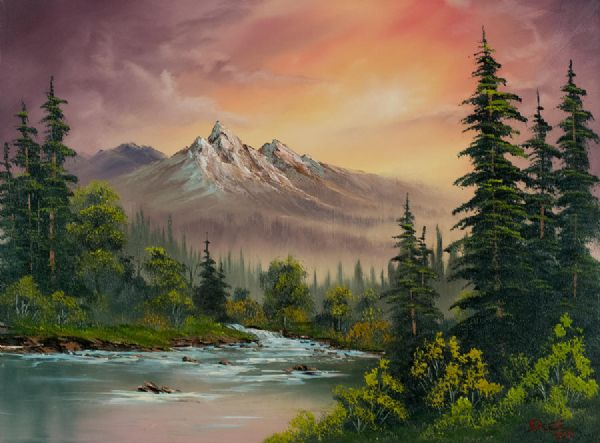 bob ross mountain sunset painting & bob ross mountain sunset paintings ...: www.saleoilpaintings.com/paintings/bob-ross/bob-ross-mountain...