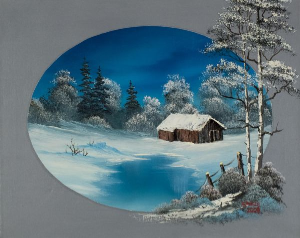 bob ross oval barn 86109 painting