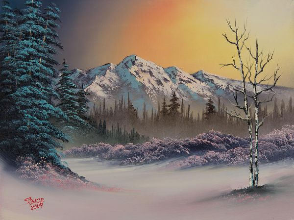 Bob Ross Pastel Winter Oil Painting Amp Bob Ross Pastel