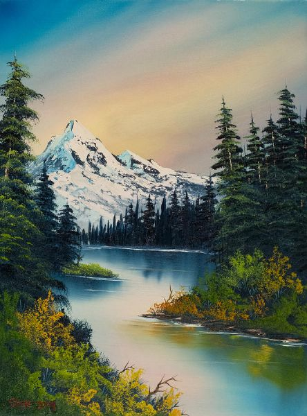 bob ross peaceful reflections painting