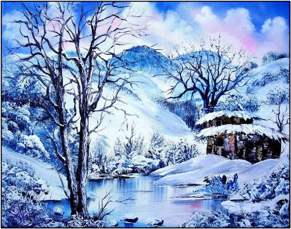 bob ross snowy day 85950 painting