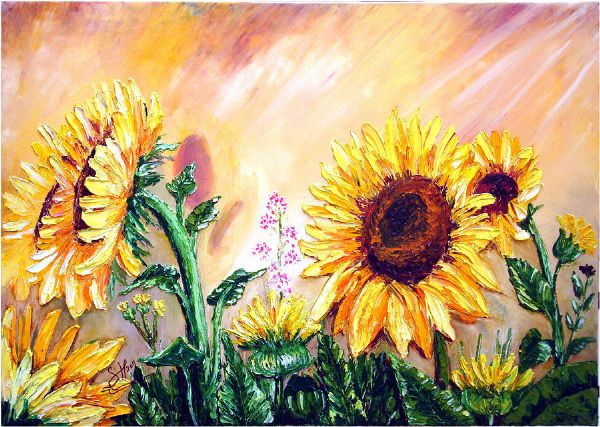 bob ross sunflowers 86144 painting