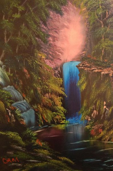 bob ross waterfall in the woods oil painting