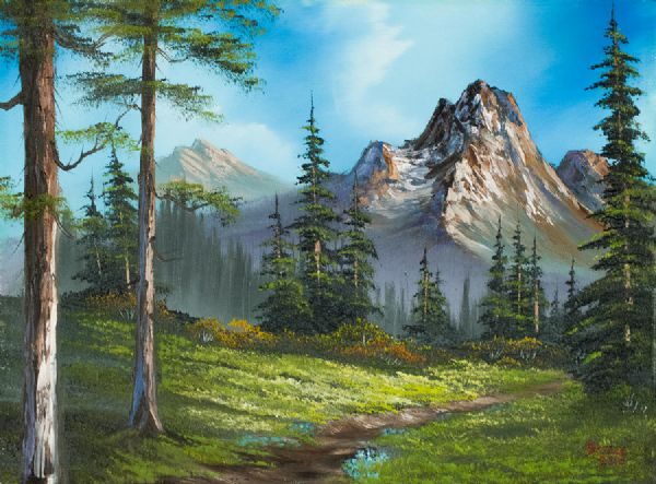 bob ross wilderness trail painting
