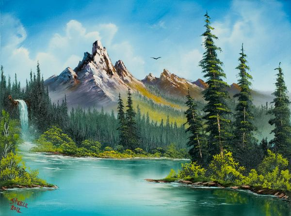 Bob ross wilderness waterfall painting bob ross wilderness bob ross wilderness waterfall paintings voltagebd Choice Image
