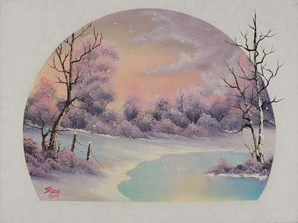 bob ross winter lace painting