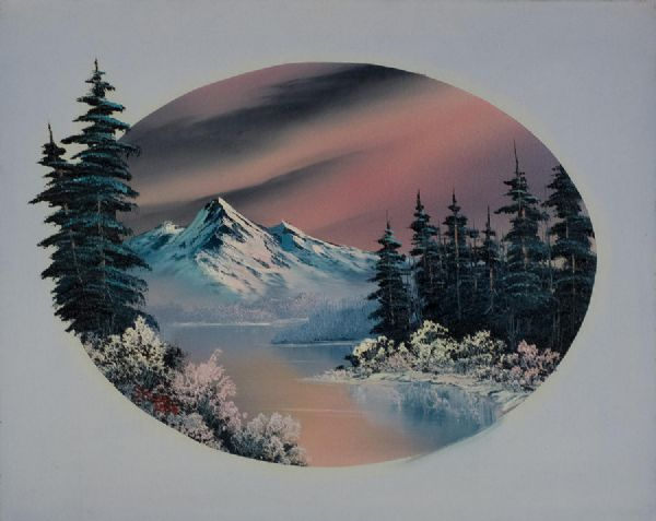 bob ross winter oval painting