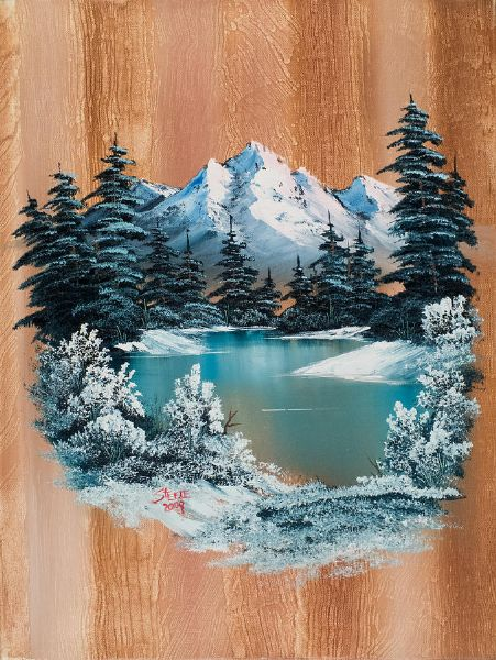 bob ross winter paradise painting