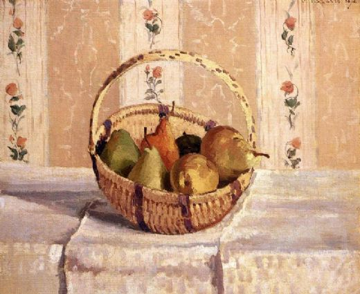 camille pissarro apples and pears in a round basket paintings