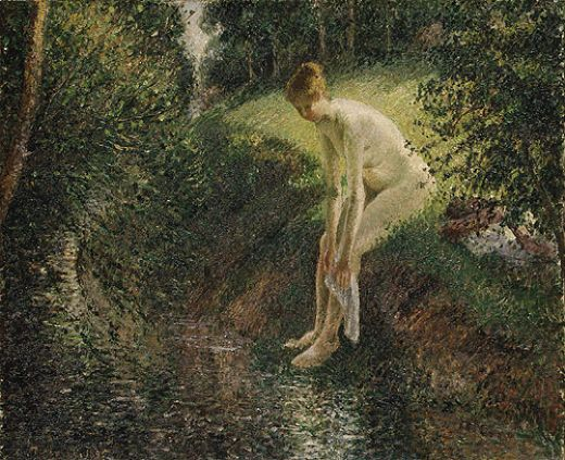 camille pissarro bather in the woods painting