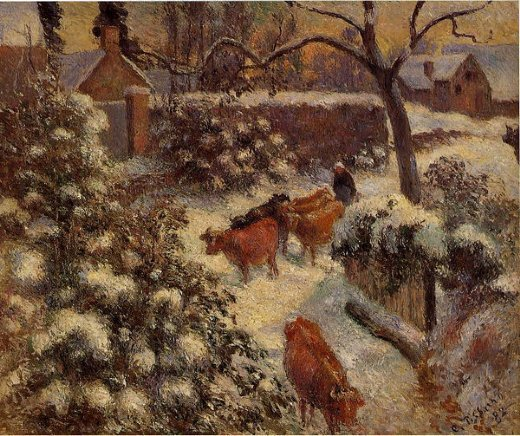 camille pissarro snow effect in montfoucault paintings
