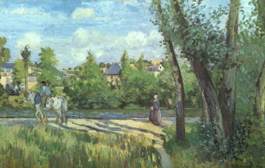 camille pissarro sunlight on the road pontoise paintings