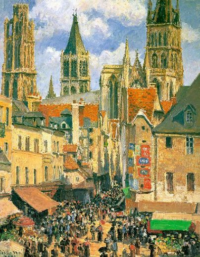 camille pissarro the old market at rouen paintings