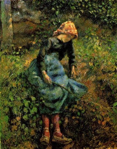 camille pissarro young peasant girl with a stick paintings