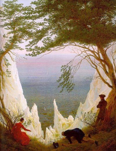 caspar david friedrich chalk cliffs on rugen painting