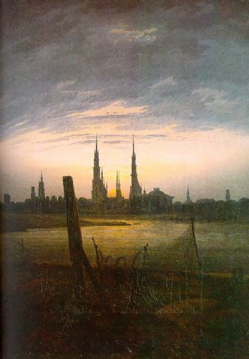 caspar david friedrich city at moonrise painting