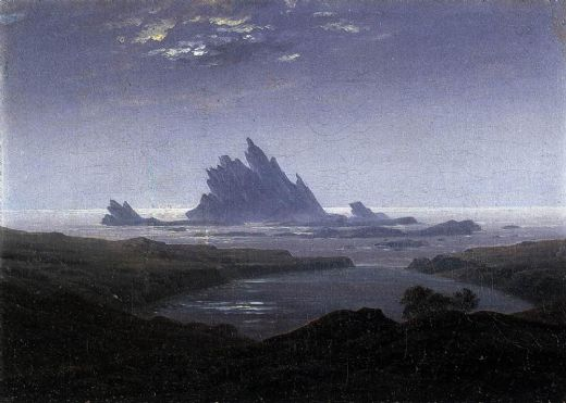 caspar david friedrich rocky reef on the sea shore painting