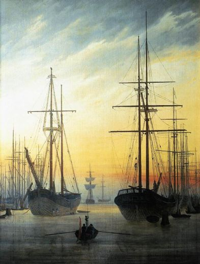 caspar david friedrich view of a harbour painting