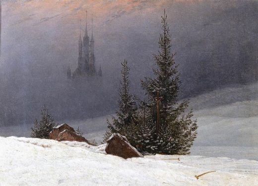 caspar david friedrich winter landscape with church painting