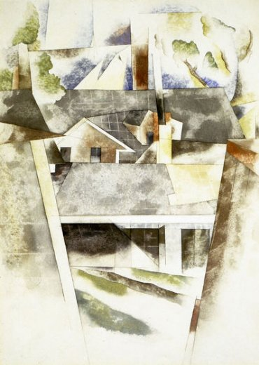 charles demuth sailboats and roofs painting