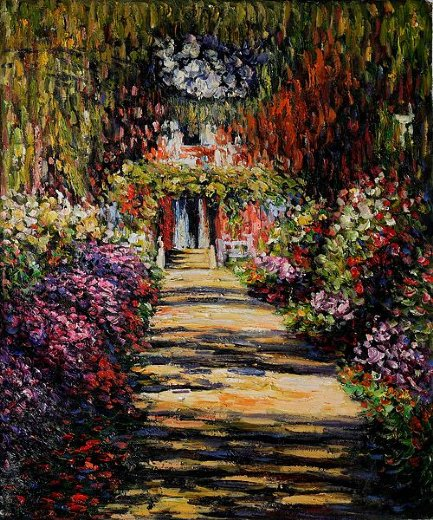 claude monet garden path at giverny painting - claude monet garden