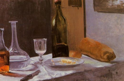 claude monet still life with bottles carafe bread and wine painting