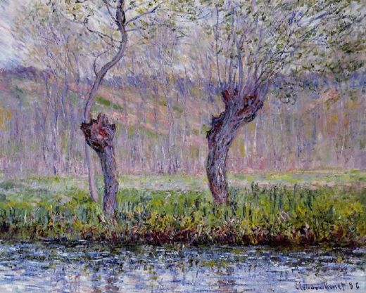 claude monet willows in spring painting