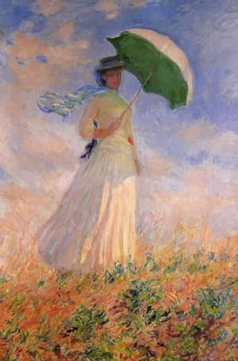 claude monet woman with a paraso facing right paintings