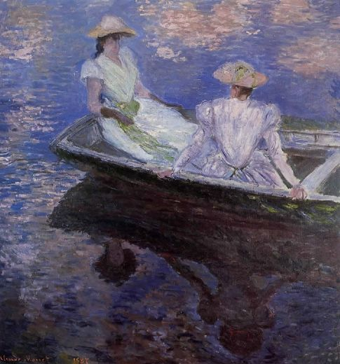 claude monet young girls in a row boat painting