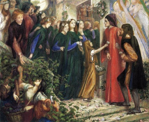 dante gabriel rossetti beatrice meeting dante at a wedding feast denies him her salutation painting