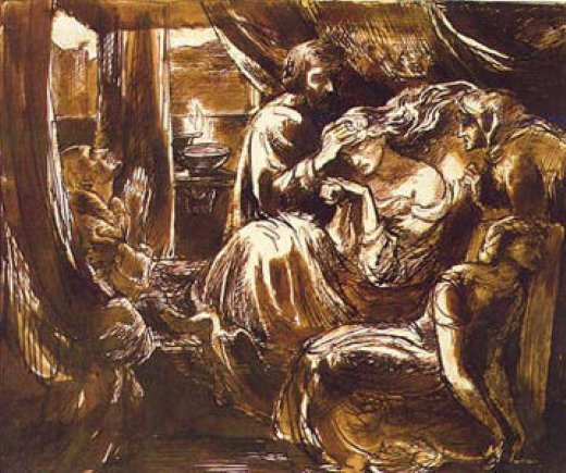 dante gabriel rossetti study for the death of lady macbeth paintings