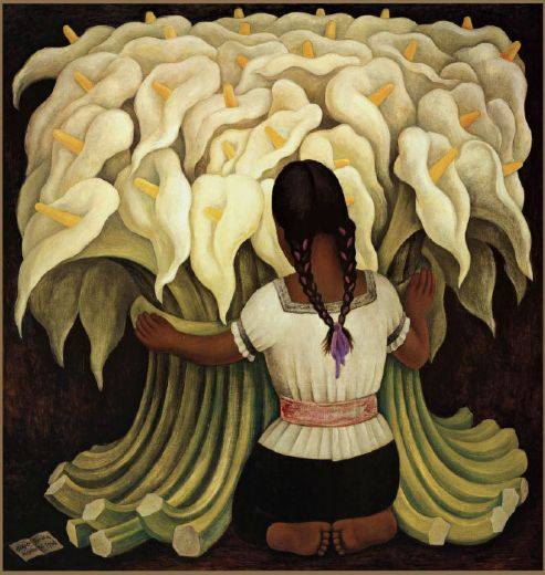 Diego rivera girl with lilies painting diego rivera girl for Diego rivera famous mural