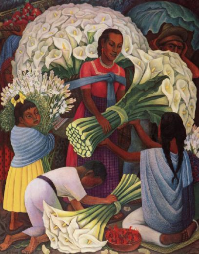 diego rivera mercado de flores (the flower vendor) paintings
