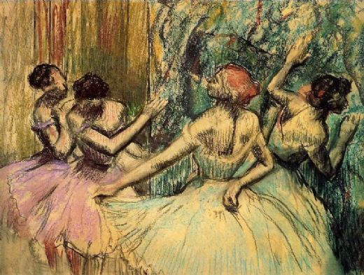 edgar degas dancers in the wings painting