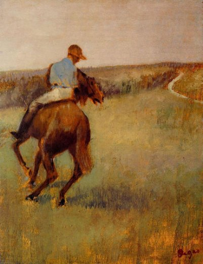 edgar degas jockey in blue on a chestnut horse painting