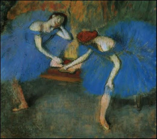 edgar degas two dancers in blue painting