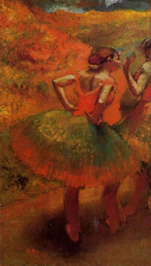 edgar degas two dancers in green skirts landscape scenery painting