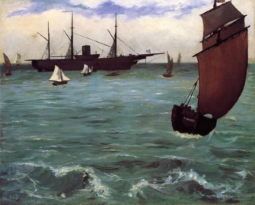 Edouard manet fishing boat coming in before the wind for Fishing in the wind